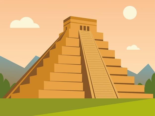 Culture traditionnelle de la pyramide aztèque dans l'illustration du paysage