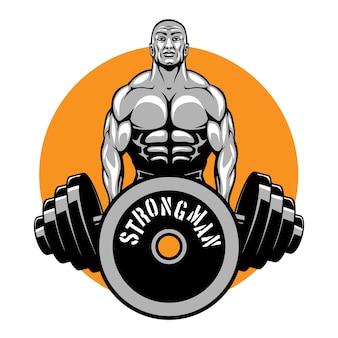 Culturistes et logo du club de fitness