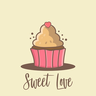 Cup cake cartoon background pour la saint-valentin