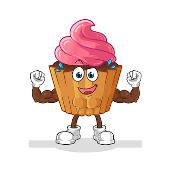 Cup cake dessin animé musculaire