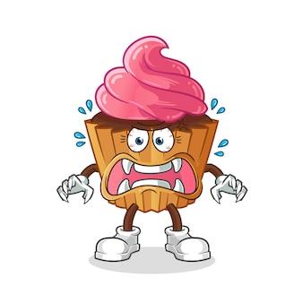 Cup cake monstre. personnage de dessin animé