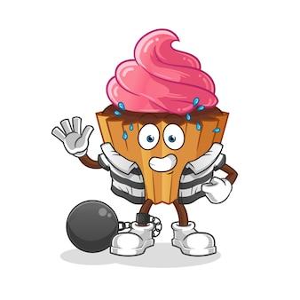 Cup cake personnage de dessin animé criminel