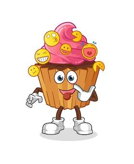 Cup cake rire et personnage simulé