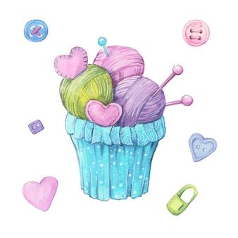 Cupcake aquarelle à base de boules de laine et d'aiguilles à tricoter