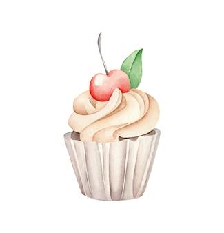 Cupcake aquarelle avec cerise