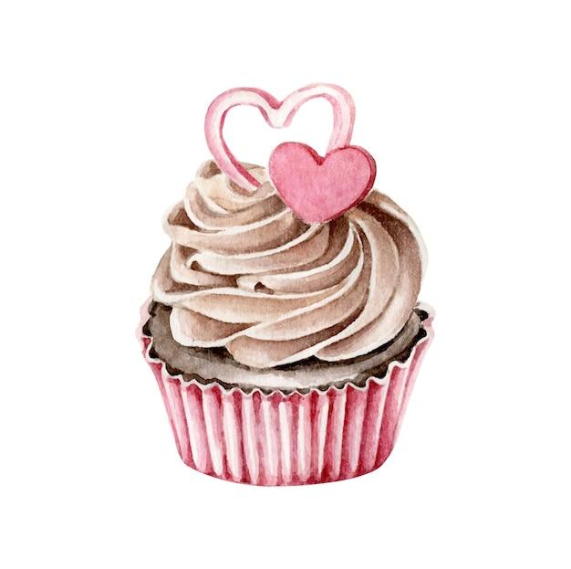 Cupcake aquarelle avec des coeurs isolés sur blanc