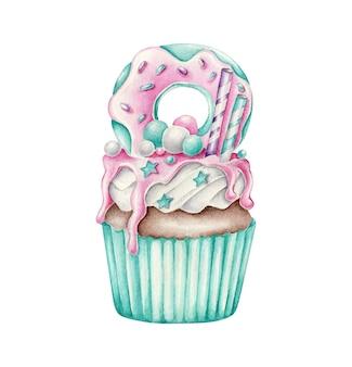 Cupcake aquarelle avec dessert sur le dessus