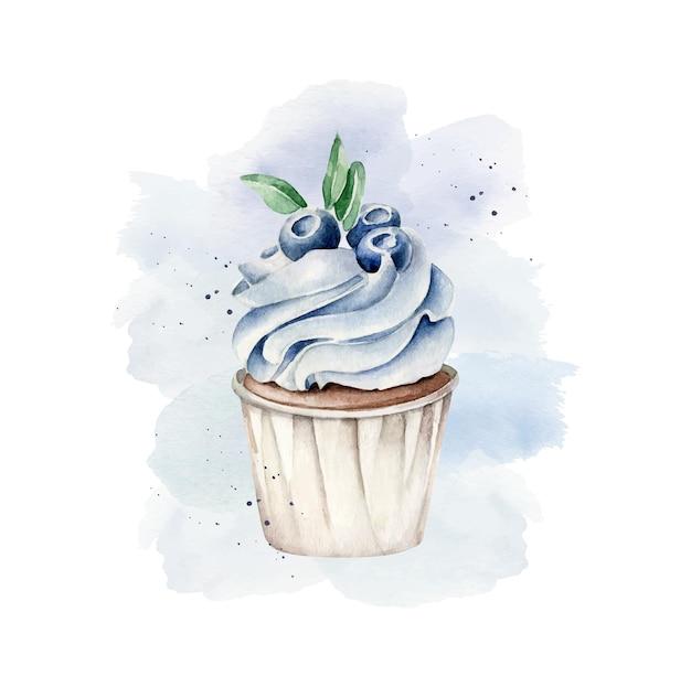 Cupcake aquarelle avec myrtille sur fond bleu