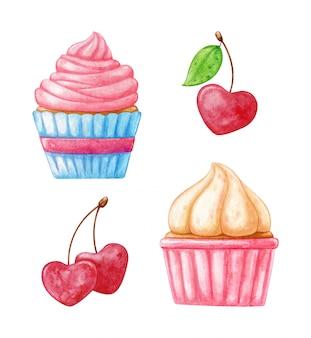 Cupcake aquarelle romantique et cerise peint à la main à l'aquarelle.