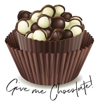 Cupcake au chocolat avec phrase donne-moi du chocolat