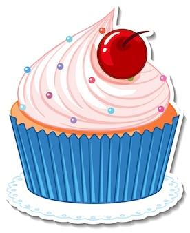 Cupcake avec autocollant cerise isolé sur fond blanc