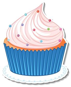Cupcake avec autocollant saupoudre de sucre isolé sur fond blanc