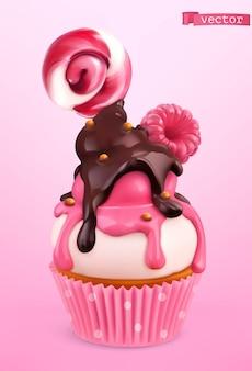 Cupcake aux framboises et au chocolat.