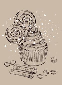 Cupcake aux sucettes couvertes de neige