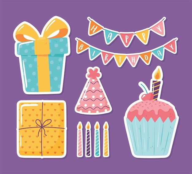 Cupcake de chapeau de cadeau de joyeux anniversaire