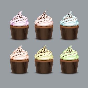 Cupcake coloré rose clair bleu vert jaune
