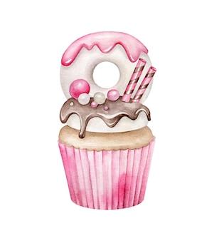 Cupcake décoré à l'aquarelle