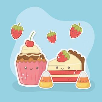 Cupcake délicieux et sucré et produits caractères kawaii