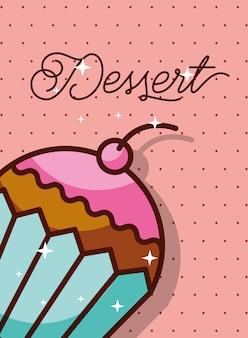 Cupcake dessert avec l'affiche de fond pointillé de cerise