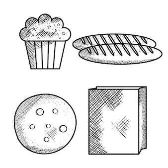Cupcake dessiné à la main, pains, cookie et sac en papier sur fond blanc. illustration vectorielle