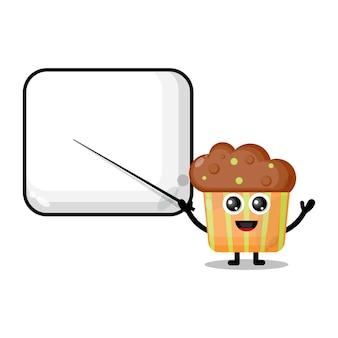 Cupcake devient une mascotte de personnage mignon d'enseignant