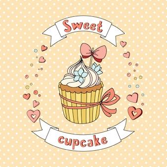 Cupcake doux vecteur sur fond délicat