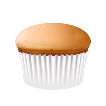 Cupcake en illustration réaliste de tasse de cuisson