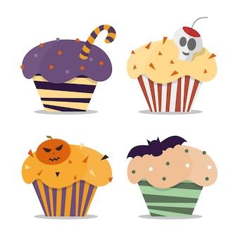 Cupcake joyeux halloween bonbons effrayants. petits gâteaux de vecteur d'halloween. trick or treat halloween cupcakes dessert nourriture citrouille fête.