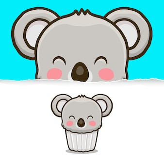 Cupcake koala mignon, conception de personnage animal.