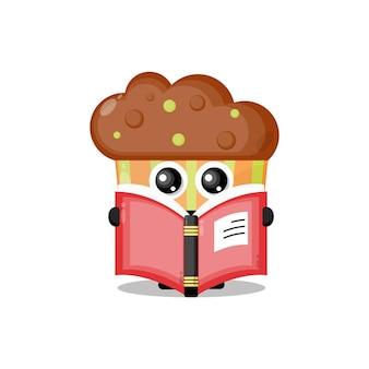Cupcake lisant une mascotte de personnage mignon de livre