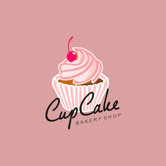 Cupcake logo vector illustration boulangerie rose