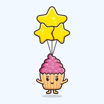 Cupcake mignon flottant avec ballon étoile. illustration de l'icône de caractère alimentaire