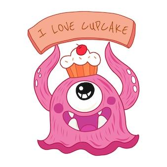 Cupcake monstre dessin animé mignon dessinés à la main.