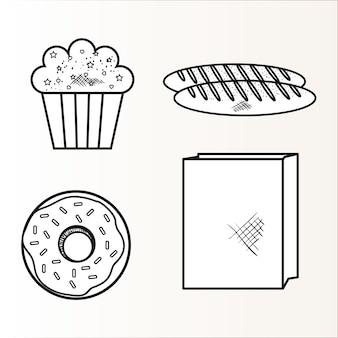 Cupcake, pain, beignets et sac en papier dessinés à la main sur fond blanc. illustration vectorielle