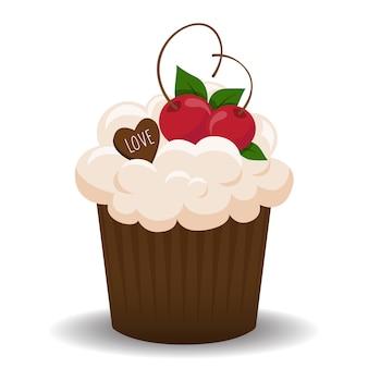 Cupcake de la saint-valentin avec les oiseaux amoureux.