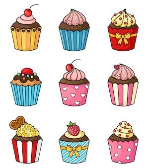 Cupcake set vector