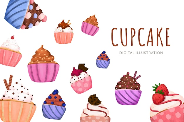Cupcake sucré de dessin animé avec diverses saveurs illustration couleur pastel avec composition de mise en page