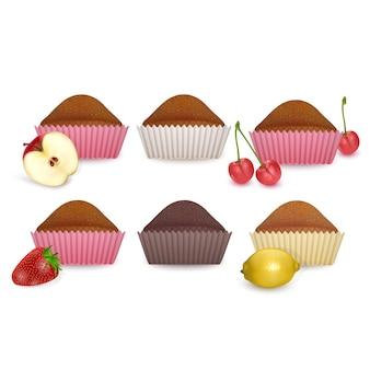 Cupcake sucré sur fond blanc