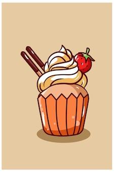 Cupcake sucré avec illustration de dessin animé aux fraises