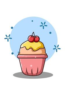 Cupcake sucré avec illustration de dessin animé de cerises