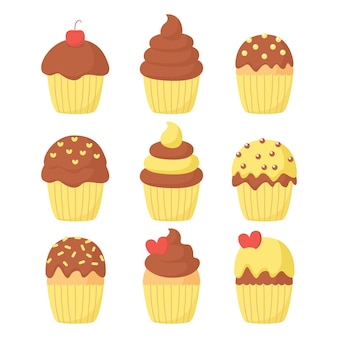 Cupcake vector set illustration