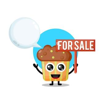 Cupcake à vendre mascotte de personnage mignon