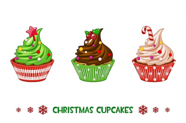 Cupcakes de dessin animé joyeux noël