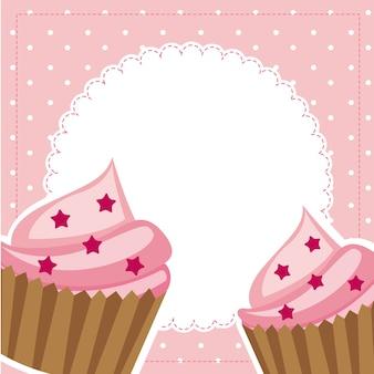 Cupcakes roses avec espace pour illustration vectorielle copie