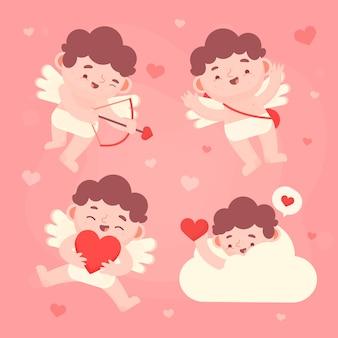 Cupidon avec des ailes se cachant dans un nuage