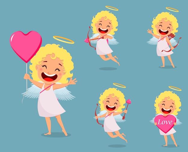 Cupidon fille, personnage de dessin animé mignon, ensemble