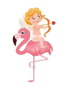 Cupidon et flamant rose drôle