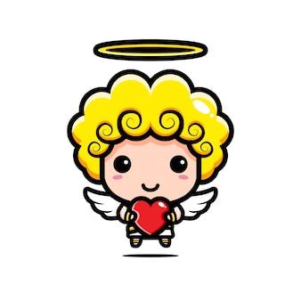 Cupidon mignon étreignant un coeur d'amour