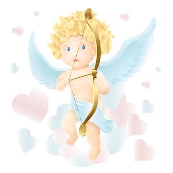 Cupidon mignon mignon. tire un arc. illustration de dessin animé doux