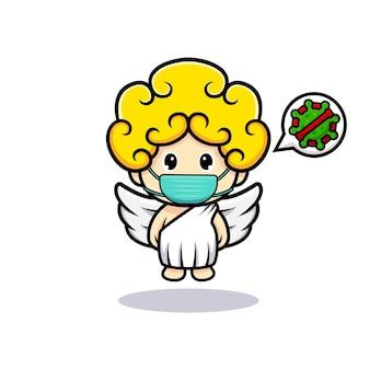 Cupidon mignon portant un masque contre le virus de prévention